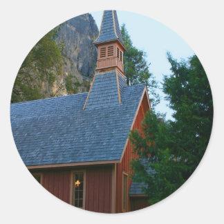 Capilla de Yosemite Pegatina Redonda