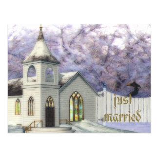 Capilla del boda del invierno postal