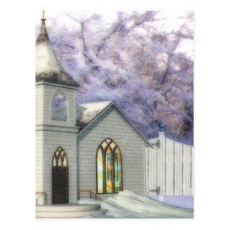 Capilla del boda del invierno tarjeta postal