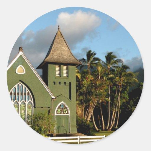Capilla del norte de la orilla de Kauai Hawaii Pegatina Redonda