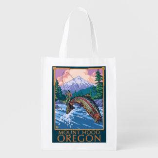Capilla del soporte, escena de OregonFisherman Bolsa Reutilizable