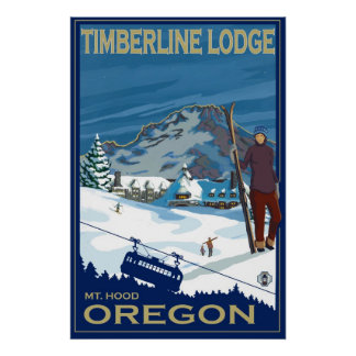 Capilla del soporte, poster del esquí de Oregon -