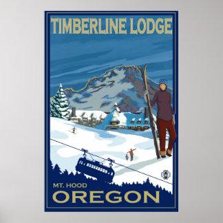Capilla del soporte, poster del esquí de Oregon -  Póster