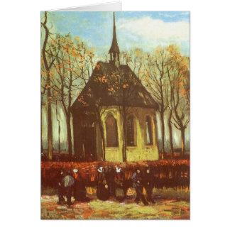 Capilla en Nuenen de Van Gogh, vintage Pascua Tarjeta De Felicitación
