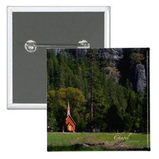Capilla en Yosemite Pin Cuadrado