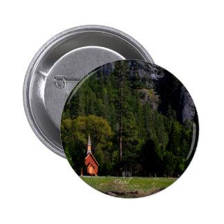 Capilla en Yosemite Pin Redondo De 2 Pulgadas