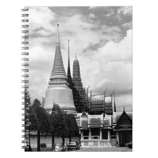 Capilla Royal Palace de Tailandia Bangkok del vint Libros De Apuntes Con Espiral