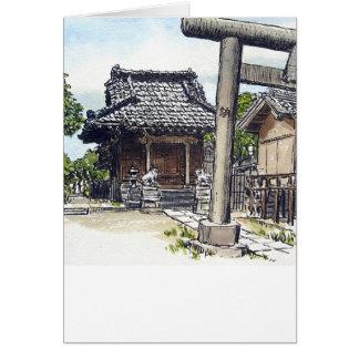 Capilla sintoísta de la vecindad vieja en Tokio Tarjeta De Felicitación