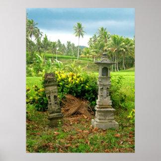 Capillas del campo del arroz del Balinese Póster
