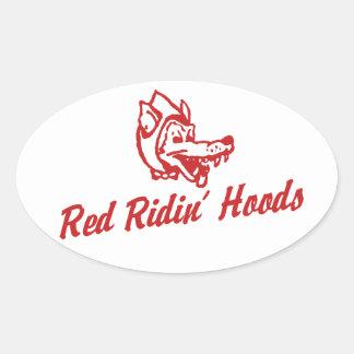 Capillas rojas de Ridin Pegatina Ovalada