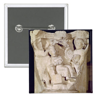 Capital a relief depicting pinback button