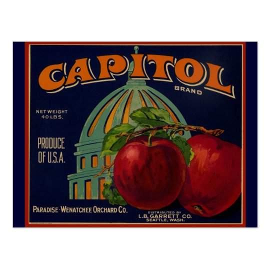Capital Apple Label Sacramento Postcard