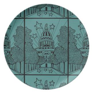 Capital Building Texas Line Art Design Melamine Plate