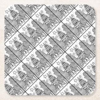 Capital Building Texas Line Art Design Square Paper Coaster
