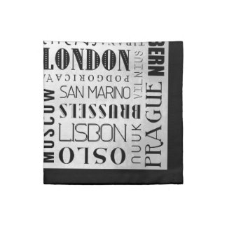 Capital Cities of Europe Typography Cloth Napkins