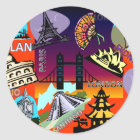 Capital cities of the world classic round sticker