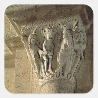 Capital de columna, representando St Benedicto a Calcomanía Cuadrada Personalizada