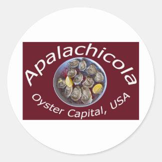 Capital de la ostra de Apalachicola Pegatina Redonda