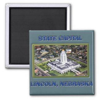 Capital del Estado Lincoln Nebraska Imán Cuadrado