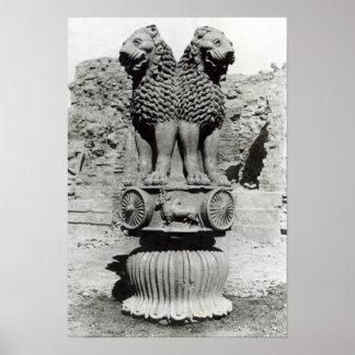 Capital del león del pilar del emperador Ashoka Impresiones