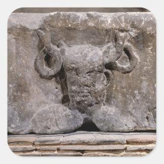 Capital del pilar de Nautes que representa Pegatina Cuadrada