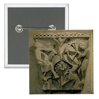 Capital depicting a man shooting an arrow into the 2 inch square button