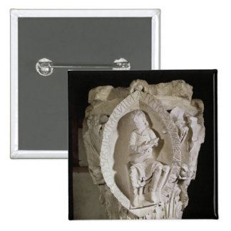 Capital depicting the First Key of Plainsong 2 Inch Square Button