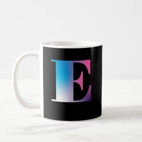 Capital Letter E Monogram Gradient Pink Blue White Coffee Mug