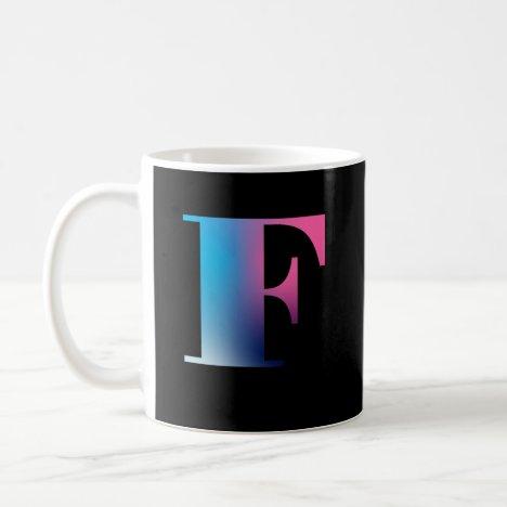 Capital Letter F Monogram Gradient Pink Blue White Coffee Mug