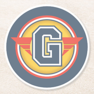 """Capital Letter """"G"""" Initial Round Paper Coaster"""