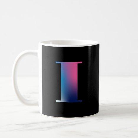 Capital Letter I Monogram Gradient Pink Blue White Coffee Mug