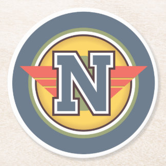 """Capital Letter """"N"""" Initial Round Paper Coaster"""