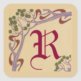 Capital Letter R Art Nouveau Stickers by Janz