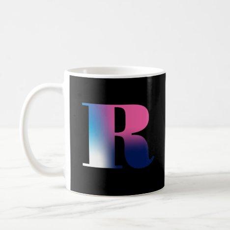 Capital Letter R Monogram Gradient Pink Blue White Coffee Mug