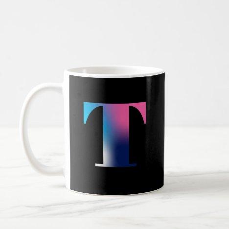 Capital Letter T Monogram Gradient Pink Blue White Coffee Mug