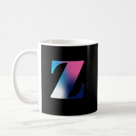 Capital Letter Z Monogram Gradient Pink Blue White Coffee Mug