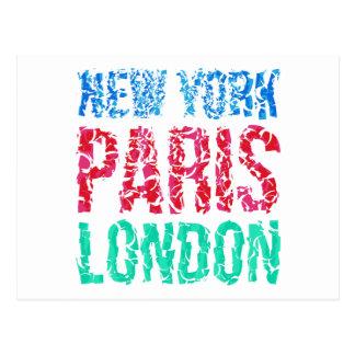 Capital New York Paris London typography, t-shirt Postcard