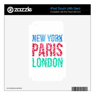 Capital New York Paris London typography, t-shirt Skin For iPod Touch 4G