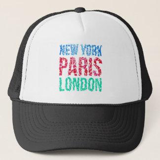 Capital New York Paris London typography, t-shirt Trucker Hat
