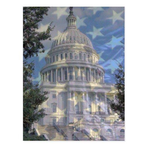 capital w stars postcard