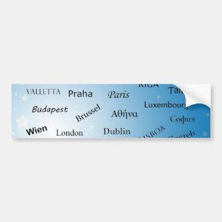 Capitales de la unión europea etiqueta de parachoque