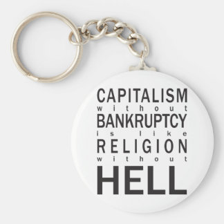 Capitalism Bankruptcy Religion Hell Keychain