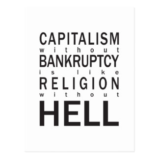 Capitalism Bankruptcy Religion Hell Postcard