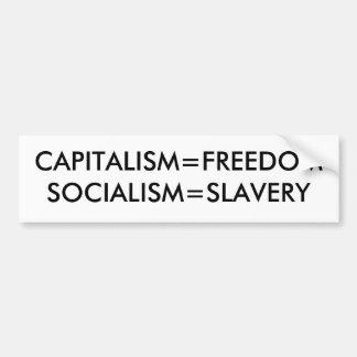 CAPITALISM=FREEDOMSOCIALISM=SLAVERY PEGATINA PARA AUTO