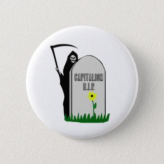 Capitalism R.I.P. Gravestone with Grim Reaper Pinback Button