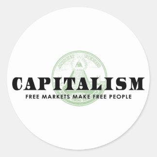 Capitalism Round Stickers