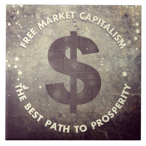 Capitalismo del mercado libre azulejo cuadrado grande