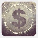 Capitalismo del mercado libre calcomanías cuadradas