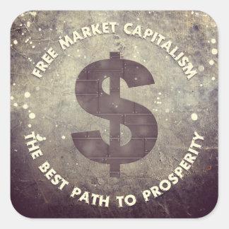 Capitalismo del mercado libre pegatina cuadrada