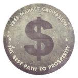 Capitalismo del mercado libre plato para fiesta